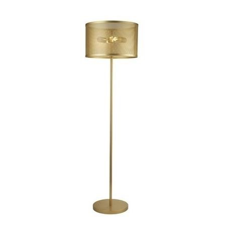 Gold Floor Lamp with Mesh Cage Shade - Fishnet