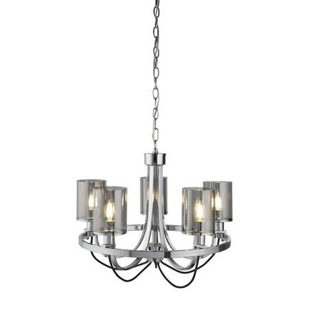 Catalina Chrome and Smoked Glass 5 Light Chandelier