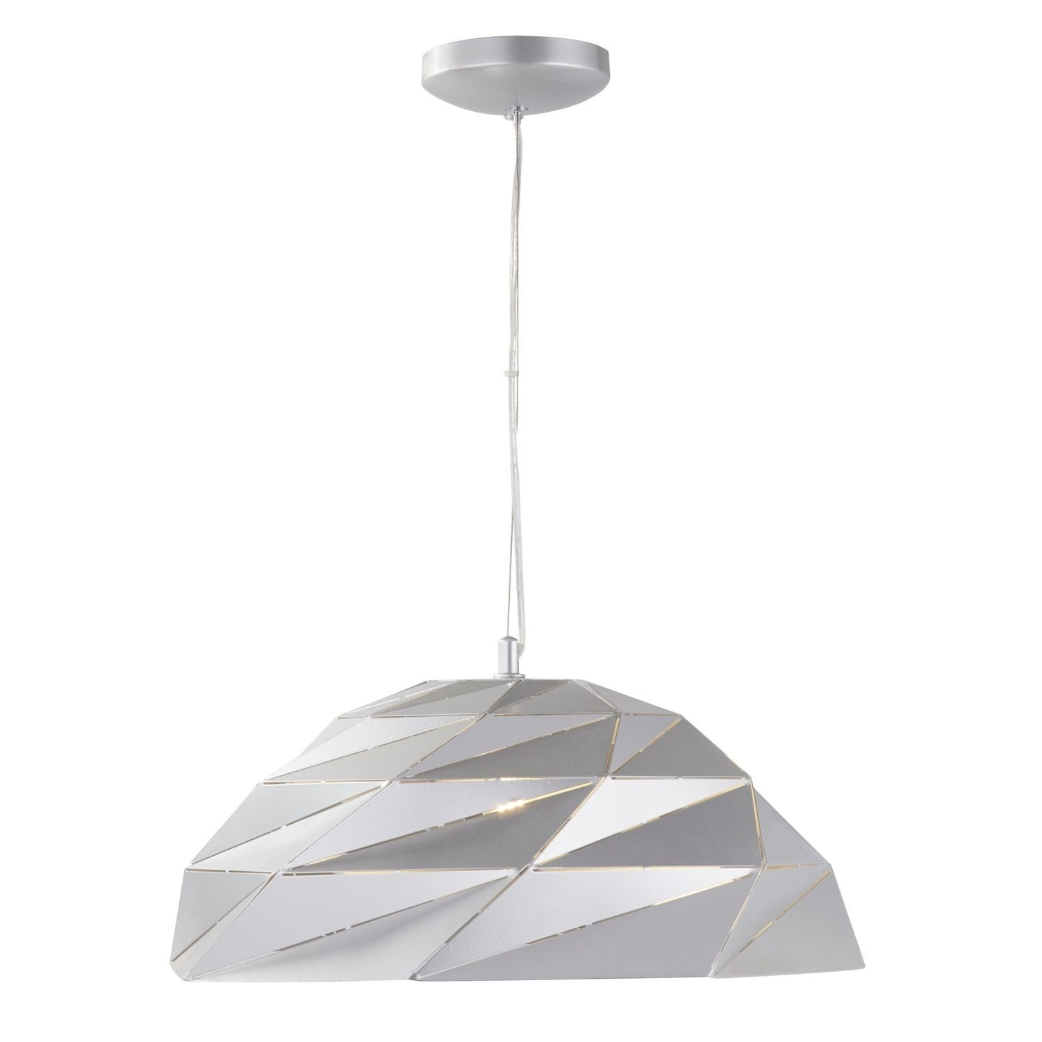 Silver Pendant Light with Geometric Shade - Origami