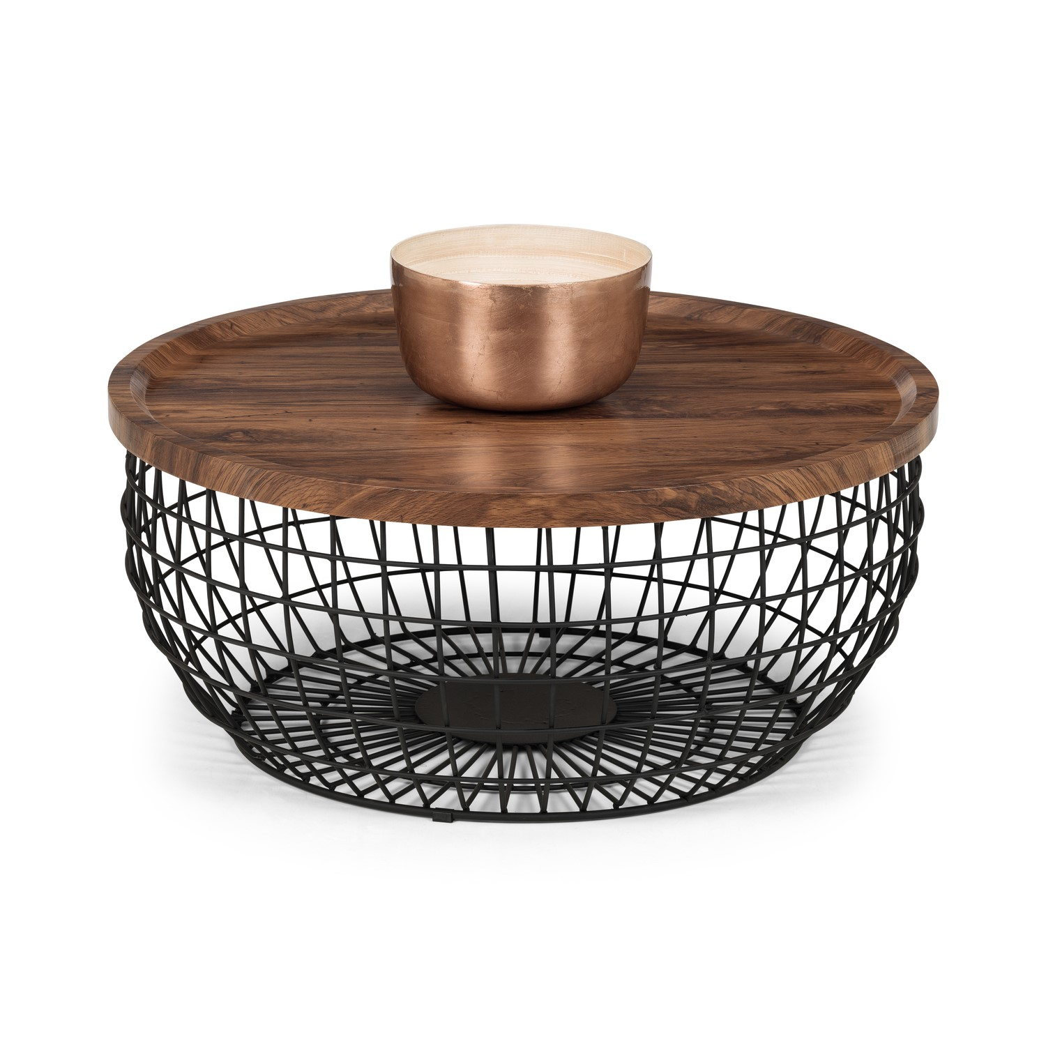 Picture of: Smithson Basket Coffee Table With Wooden Top Black Metal Frame Julian Bowen Furniture123