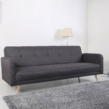 Milu 3 seater upholstered fabric sofa bed in dark grey for Furniture 123