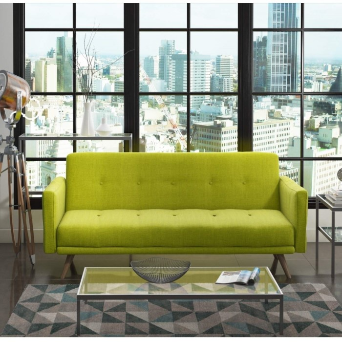 Milu 3 Seater Fabric Sofa Bed In Lime Green Furniture123