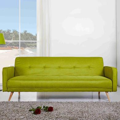Milu 3 Seater Fabric Sofa Bed In Lime Green Furniture123
