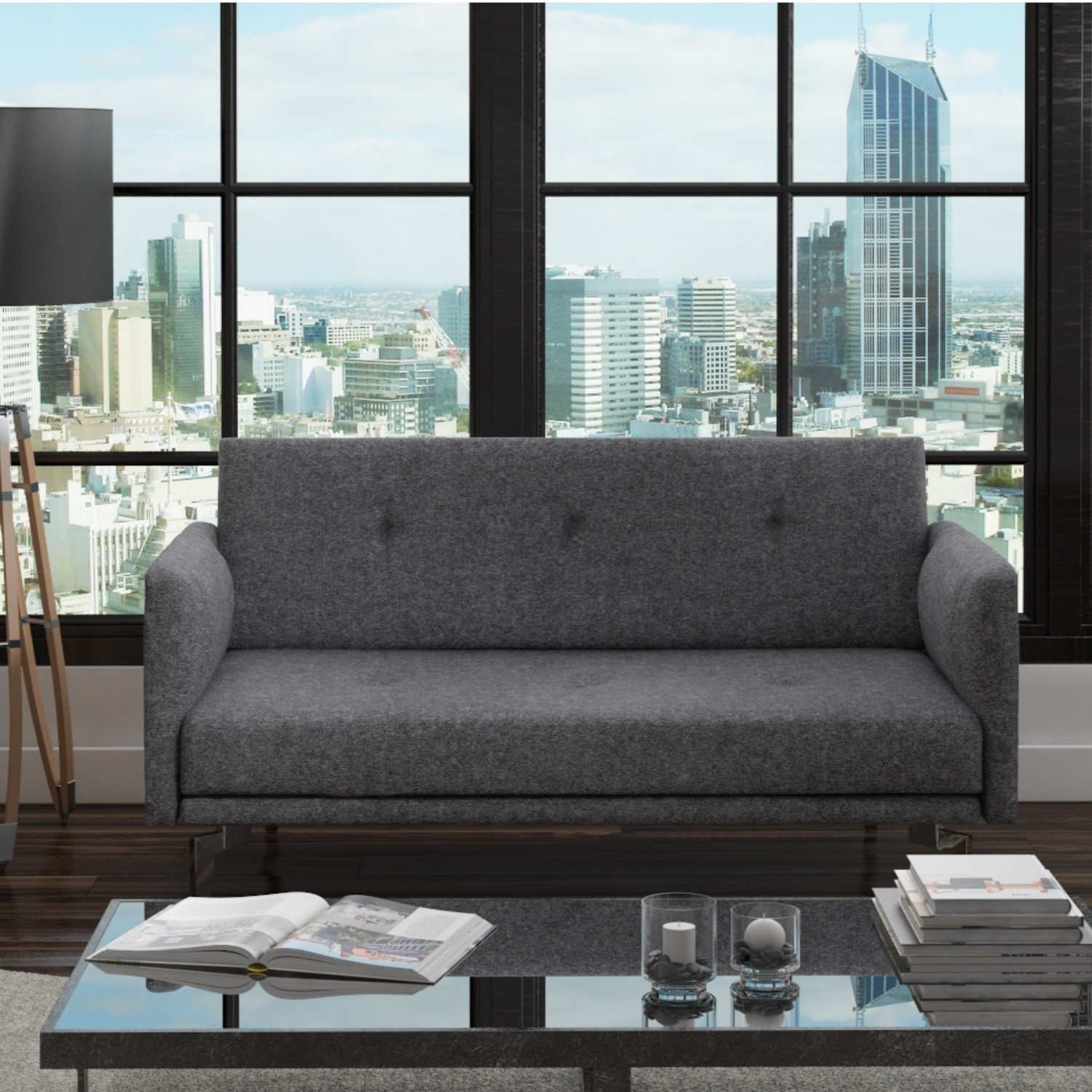 Colby 2 Seater Modern Fabric Sofa In Dark Grey