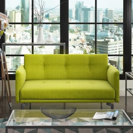 Colby 2 seater modern fabric sofa in lime green furniture123 for Furniture 123