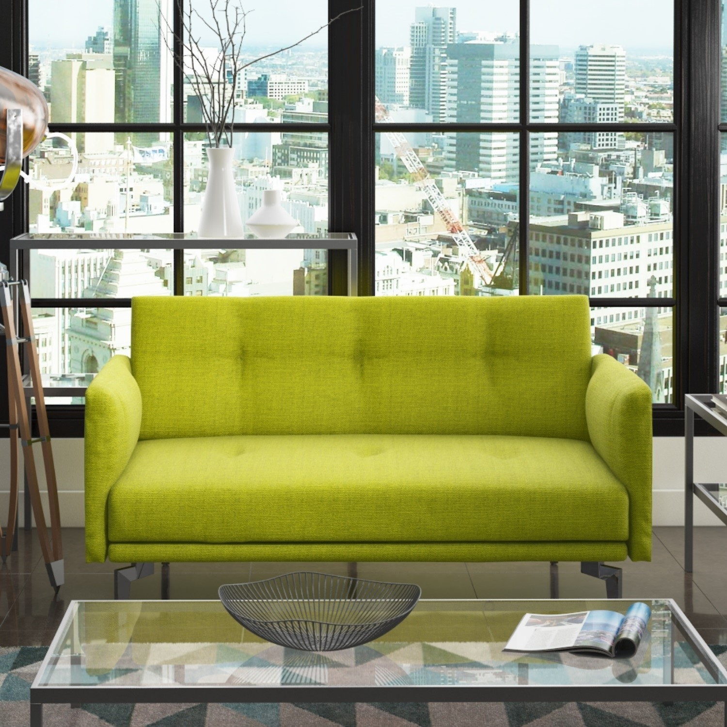 Beau Colby Modern 2 Seater Sofa   Lime Green Fabric
