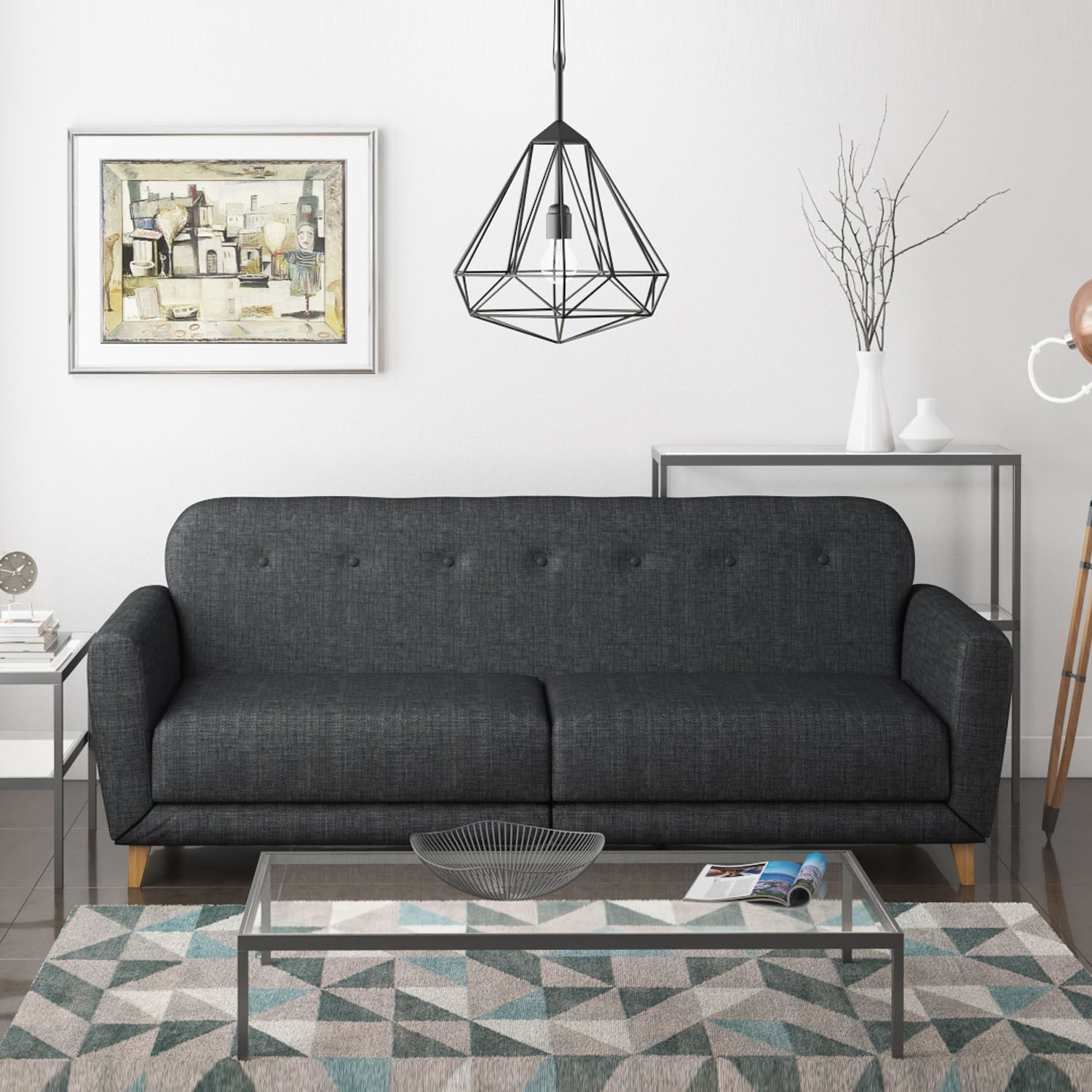 Archer 3 Seater Fabric Sofa Bed In Charcoal/Dark Grey