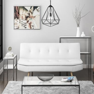 Barker Sofa Bed in White Faux Leather
