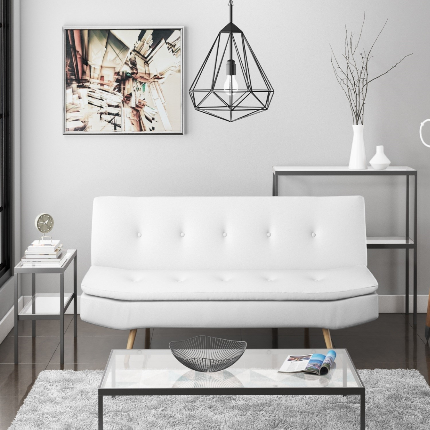 Grade A2 Barker White Faux Leather Sleeper Sofa Bed Click