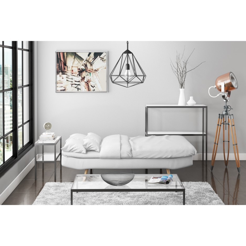 Barker White Faux Leather Sleeper Sofa Bed Click Clack