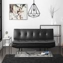 SOF011 Barker Click Clack Sofa Bed in Black Faux Leather