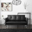 Colby 2 Seater Modern Sofa in Black Faux Leather