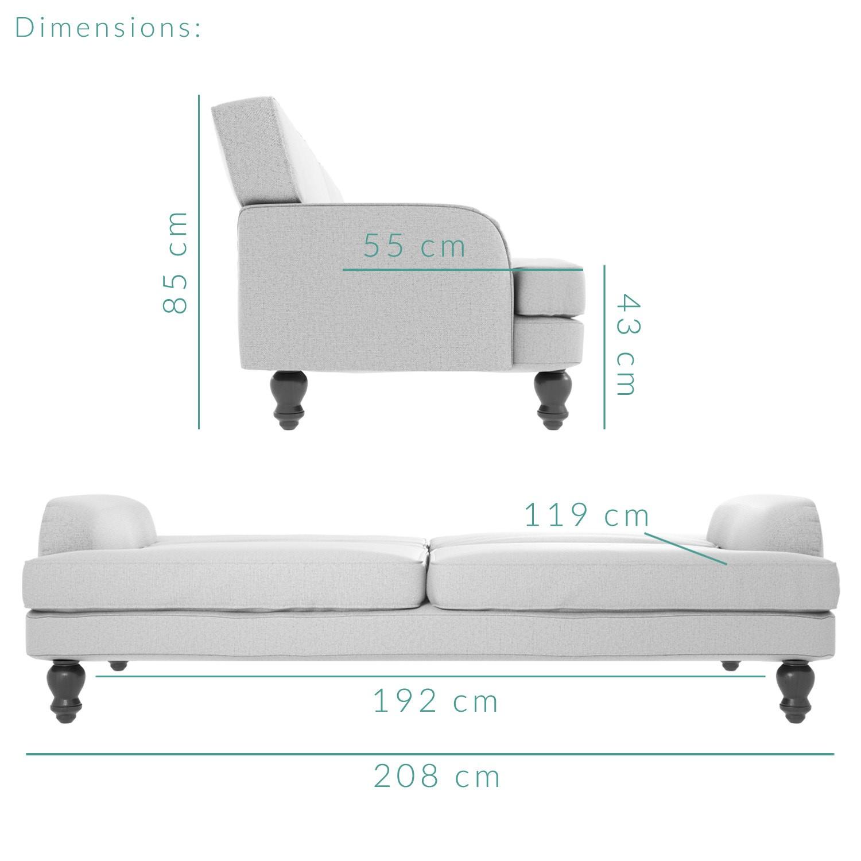Amelia Light Grey 3 Seater Sofa Bed
