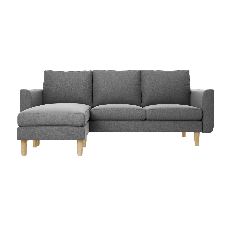Brooke Reversible Small Corner Sofa In Grey Fabric