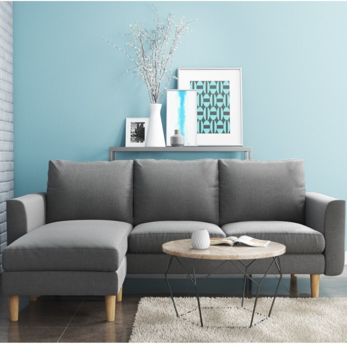 GRADE A1 - Brooke Chaise End Small Corner Sofa in Light Grey - Right ...