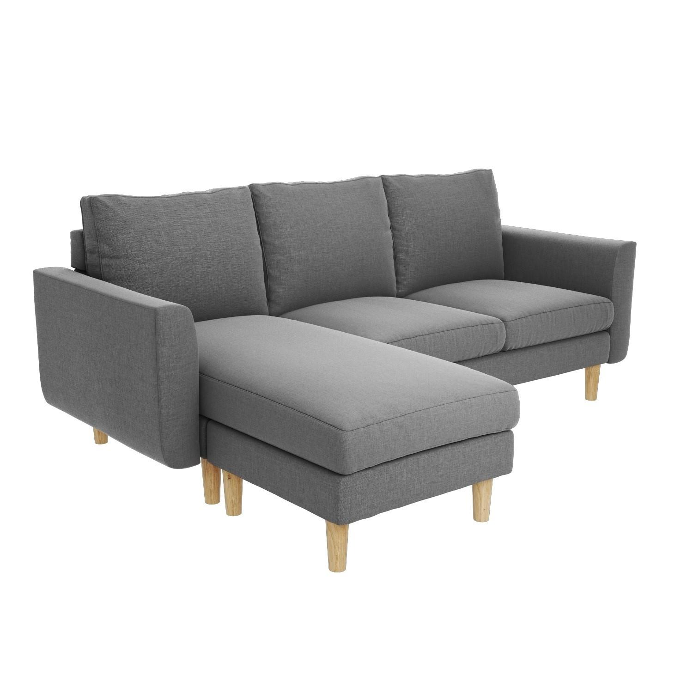 Remarkable Brooke Light Grey 3 Seater Corner Sofa Detachable L Shape Creativecarmelina Interior Chair Design Creativecarmelinacom