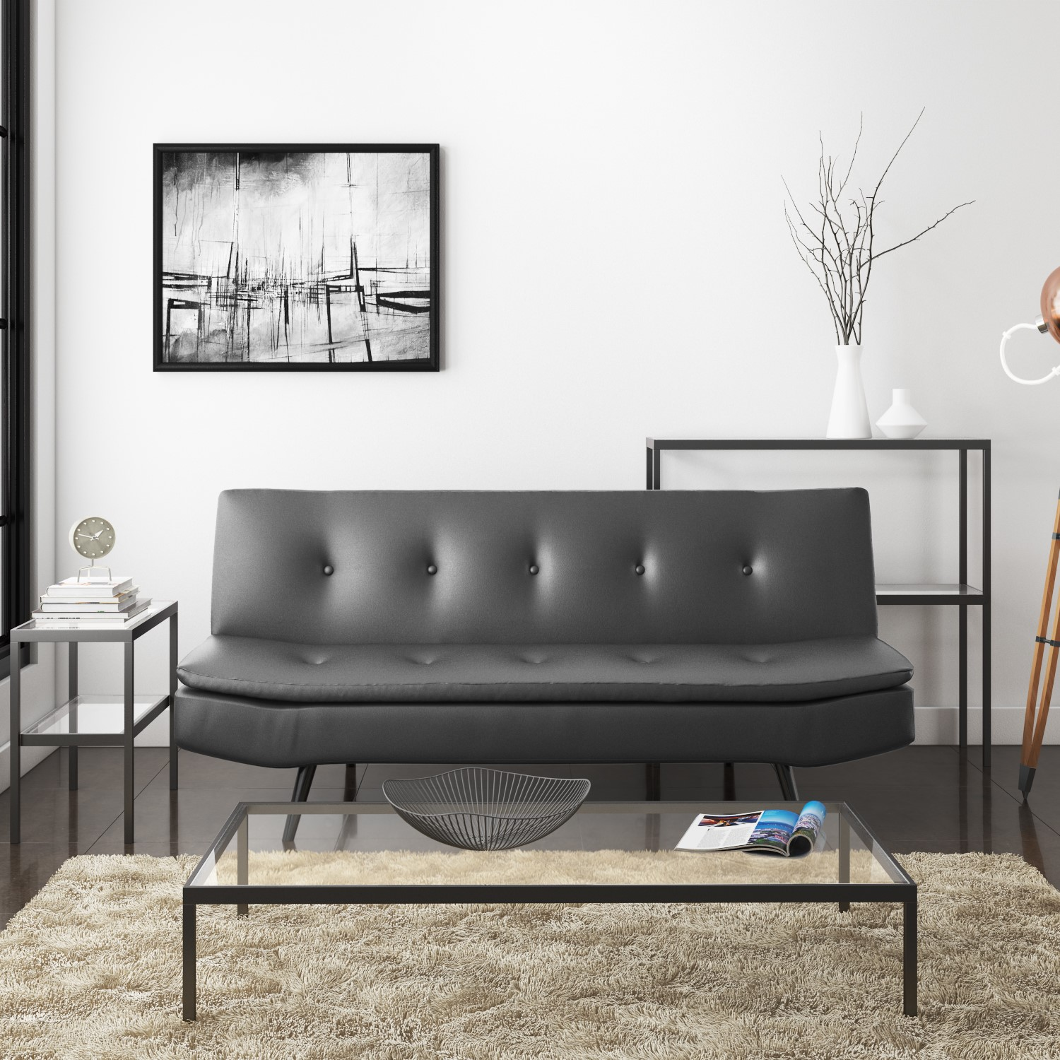 Barker Faux Leather Sofa Bed Grey Furniture123