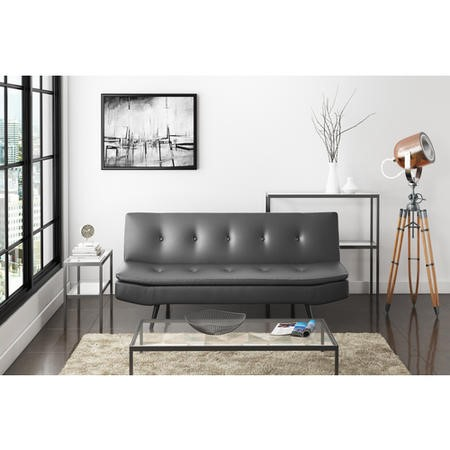 Barker Grey Faux Leather 3 Seater Sofa Bed - Sleeps 2