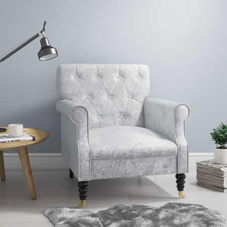 Delicieux Fletcher Silver Crushed Velvet Armchair With Button Back Detail