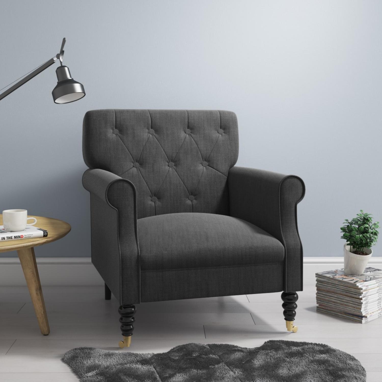 Fletcher Dark Grey Fabric Armchair With Button Back Detail