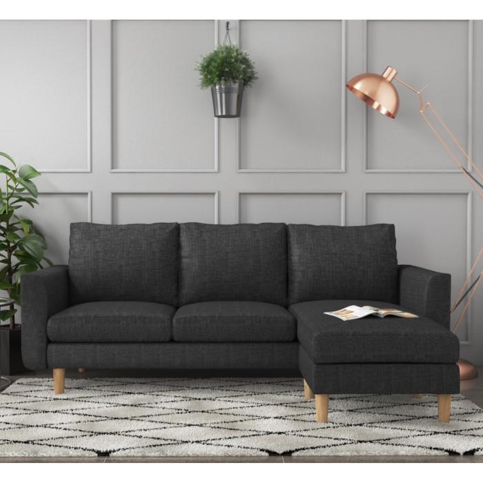 Brooke Dark Grey 3 Seater Corner Sofa - Right/Left Hand Chaise ...