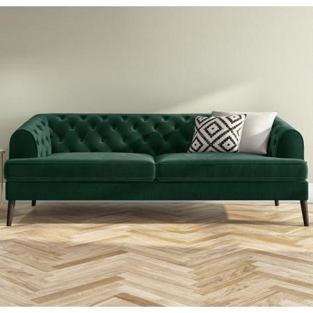 Inez Dark Green Velvet 3 Seater Chesterfield Sofa