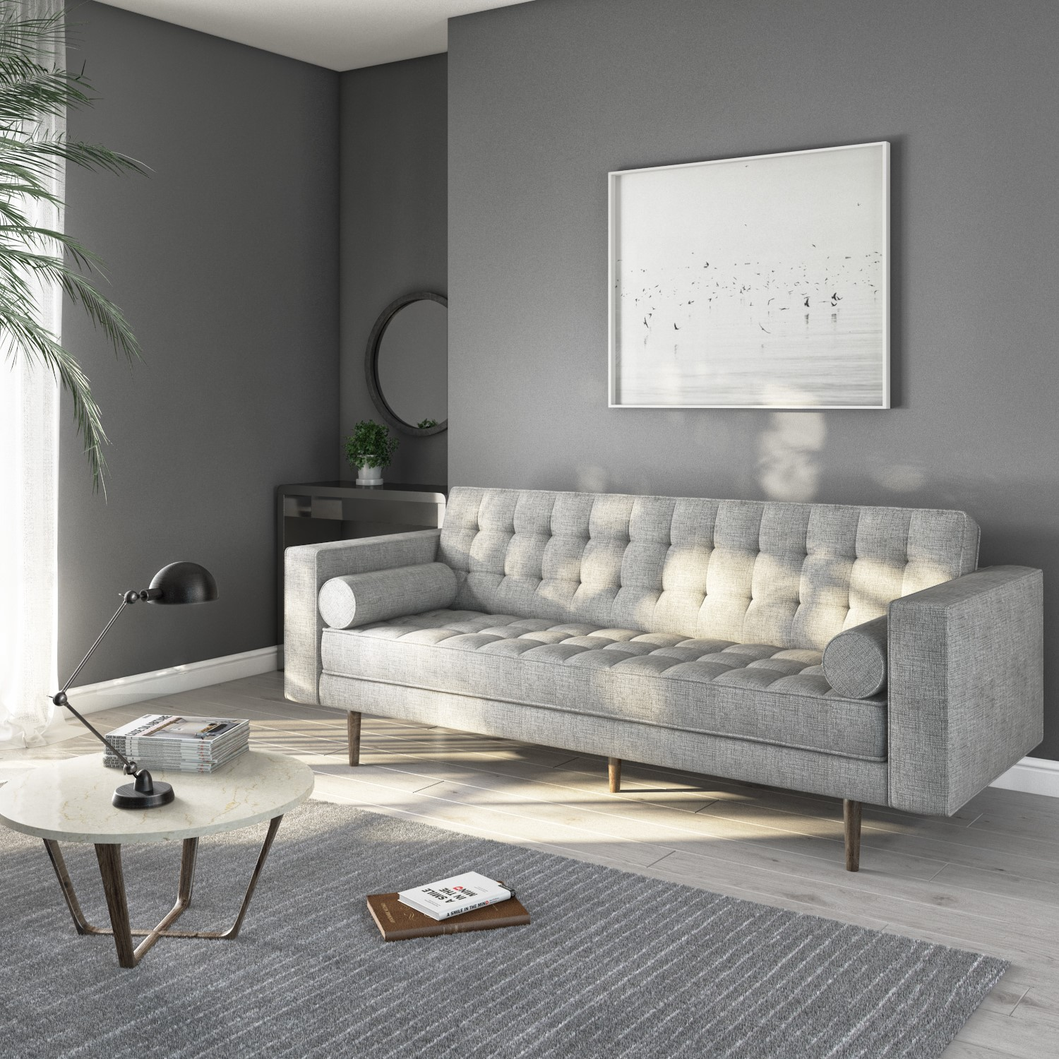 Buttoned Light Grey Sofa 3 Seater With Cushions Elba