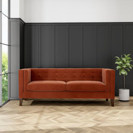 Bailey Burnt Orange Velvet 3 Seater Sofa