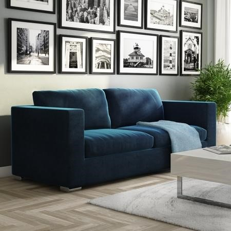 Clara Navy Blue Velvet 3 Seater Sofa