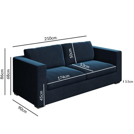 Clara 3 Seater Sofa in Dark Blue Velvet