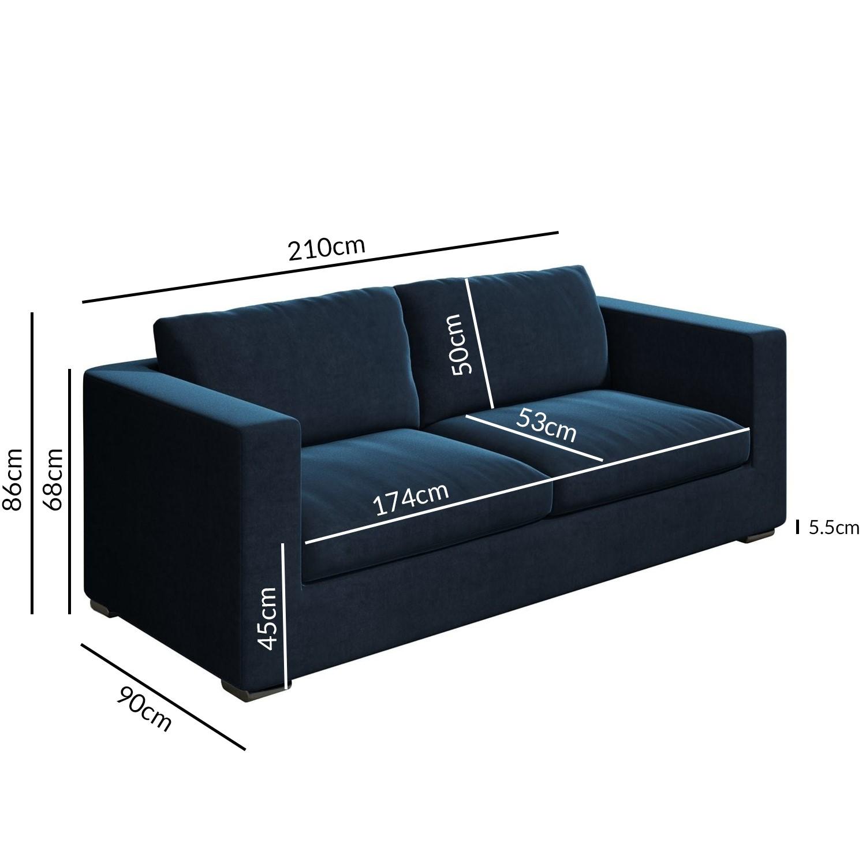 Navy Blue Velvet 3 Seater Sofa Clara Furniture123
