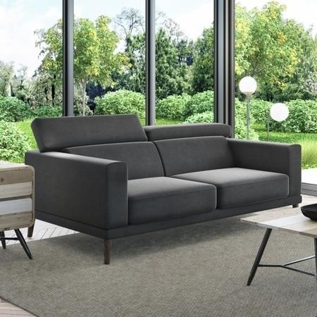 Lamarr Dark Grey 2 Seater Sofa with Adjustable Headrests