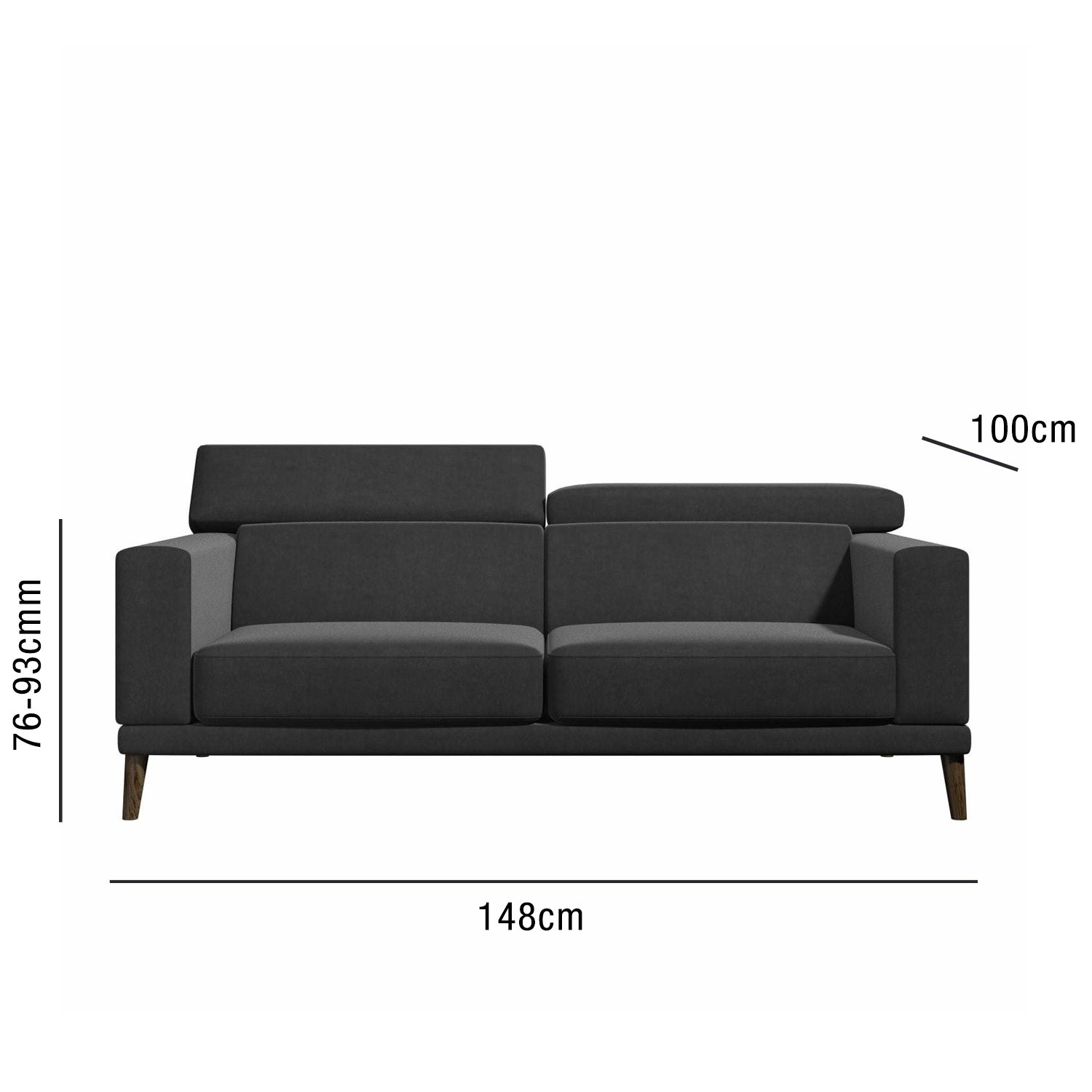 Stupendous Lamarr Sofa In Dark Grey With Adjustable Headrests Seats 2 Pdpeps Interior Chair Design Pdpepsorg