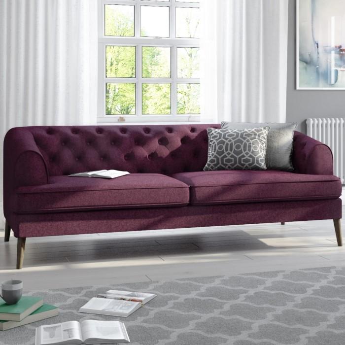 Inez Chesterfield Sofa In Plum Purple Fabric Seats 3
