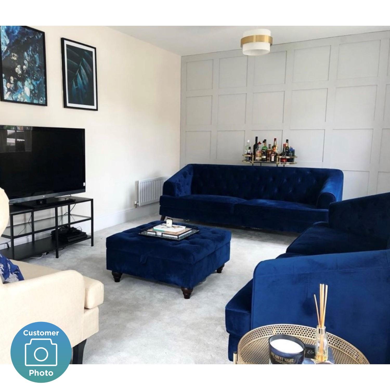 Chesterfield Sofa In Navy Blue Velvet 3 Seater Inez Furniture123