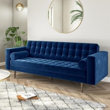 Buttoned Navy Blue Velvet Sofa - 3 Seater with Cushions - Elba