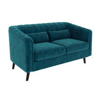 Lotti Blue Velvet 2 Seater Sofa with 2 Cushions