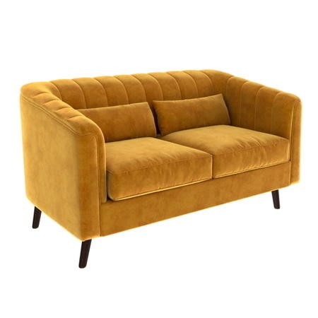 Lotti Mustard Yellow Velvet 2 Seater Sofa with Removable Cushions - Mid Century Style