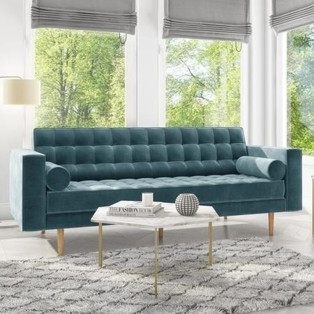 Buttoned Light Blue Sofa 3 Seater with Cushions - Elba