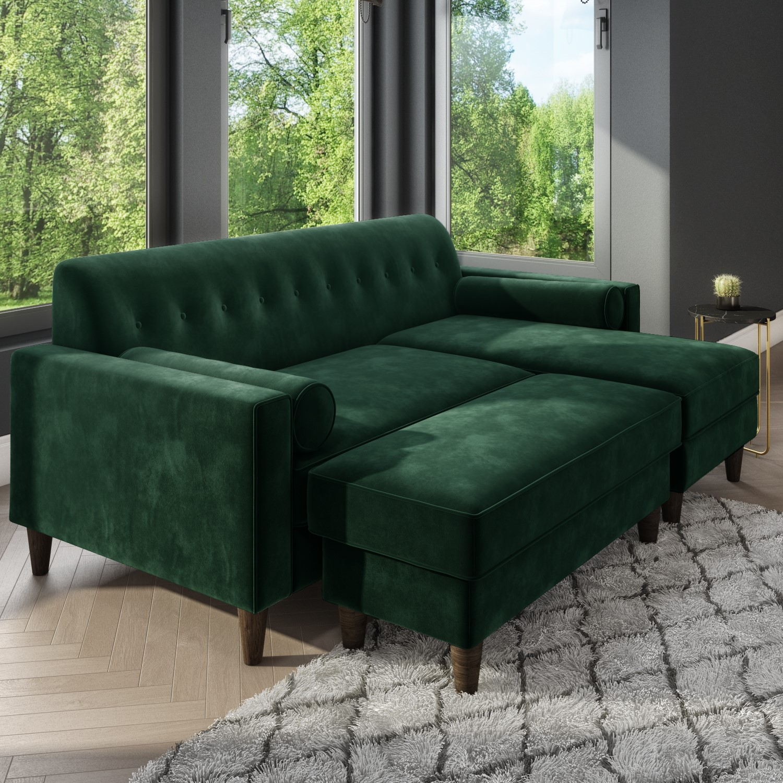 Dark Green Velvet Corner Sofa With Bolster Cushions Seats 3 Idris Furniture123