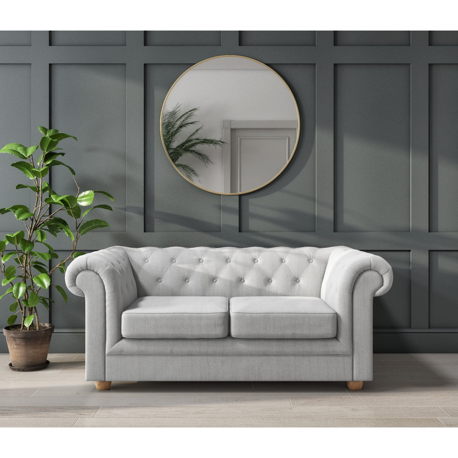 Bronte 2 Seater Chesterfield Sofa in Light Grey Fabric