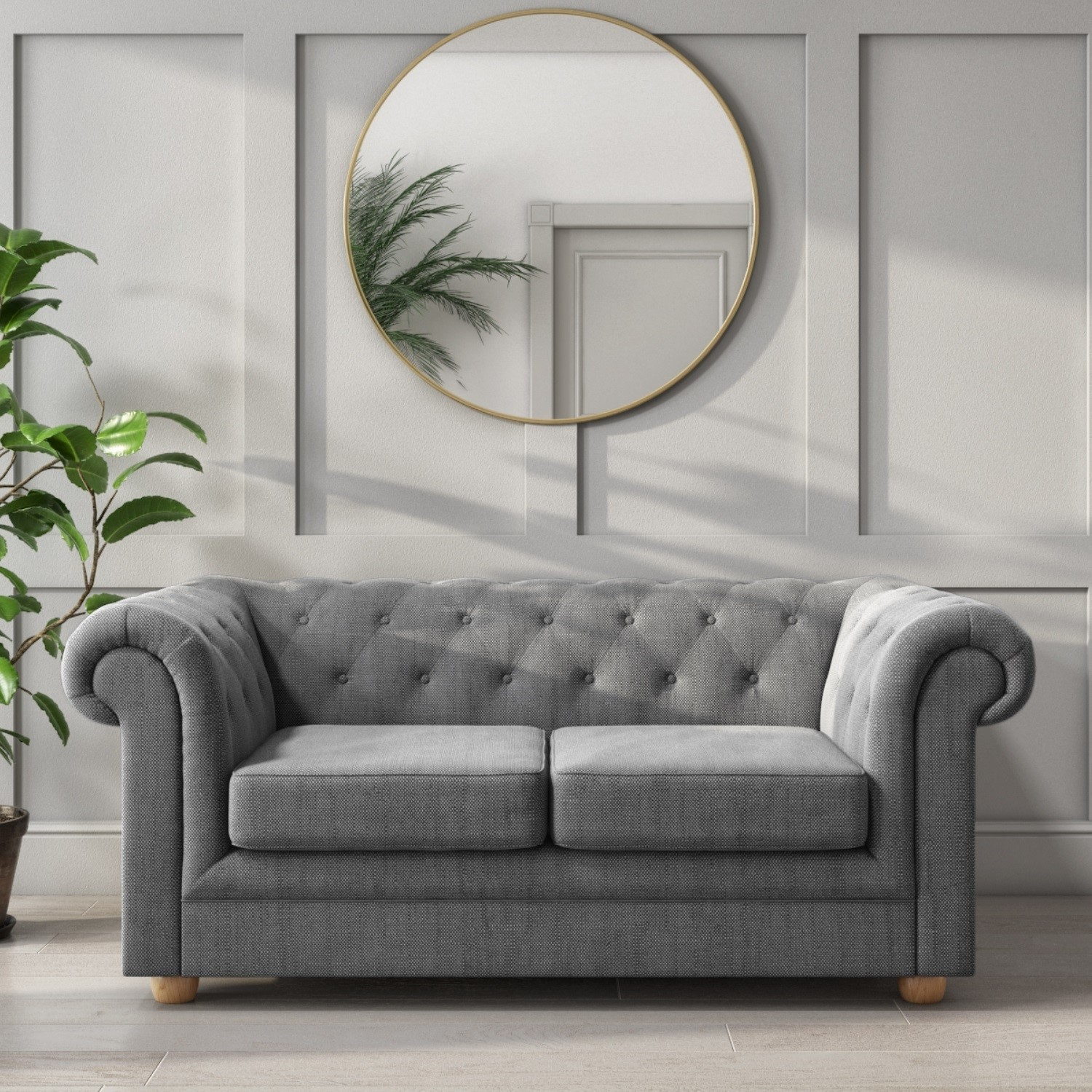 Bronte 2 Seater Chesterfield Sofa in Grey Fabric