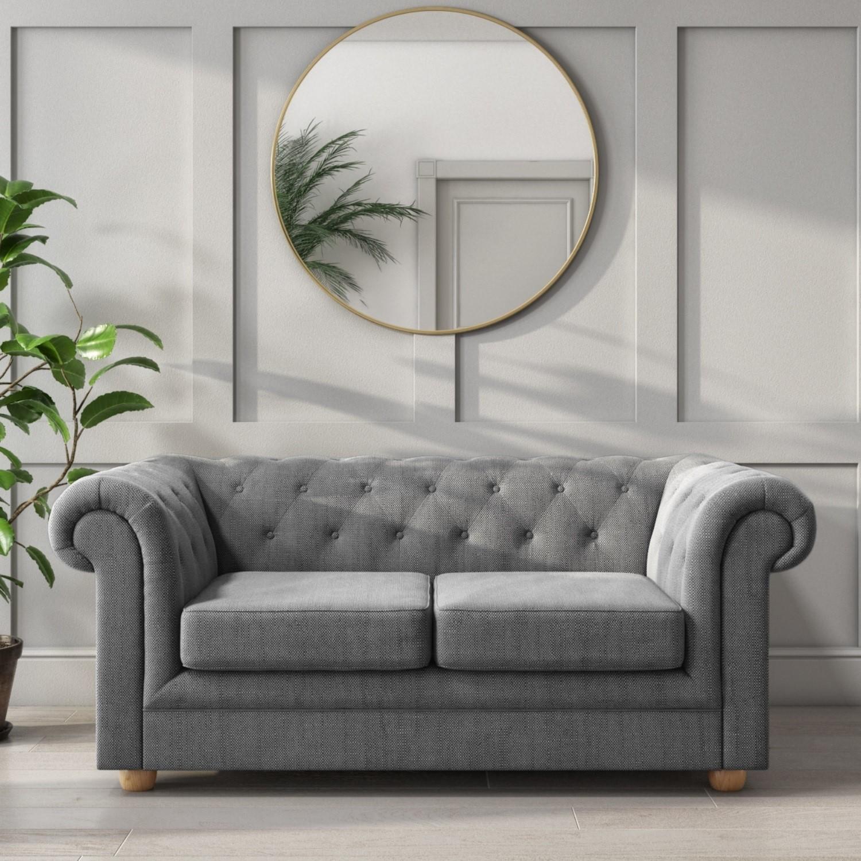 Dark Grey Chesterfield Sofa  2 Seater  Bronte