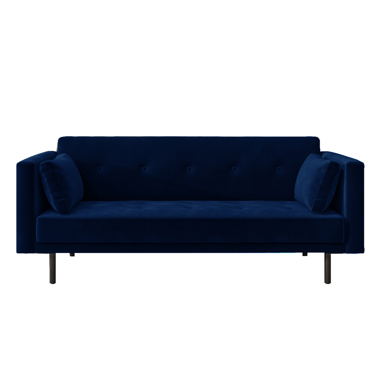 Picture of: Velvet Sofa Bed In Navy Blue With Buttons Seats 3 Rory Furniture123