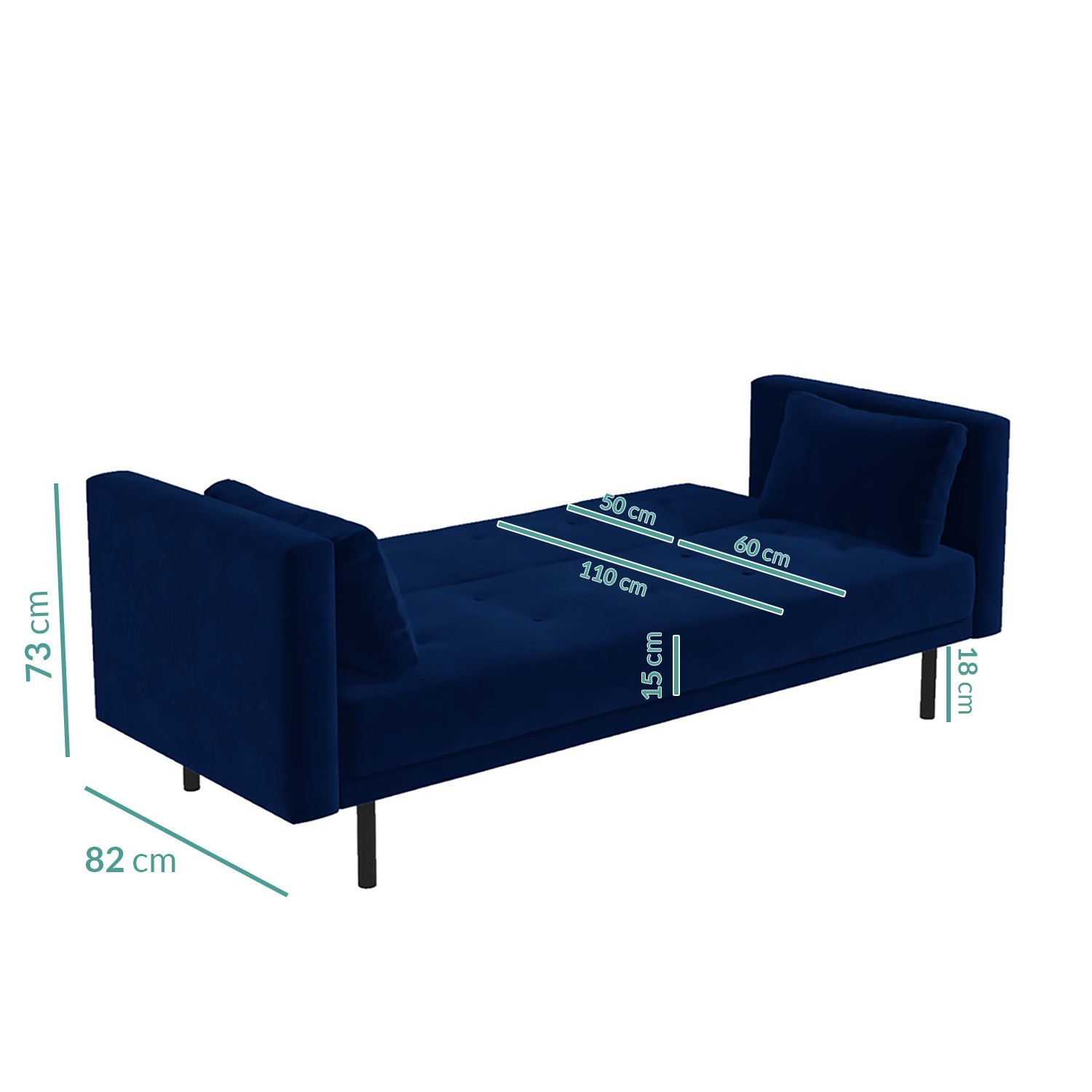 Picture of: Velvet Sofa Bed In Navy Blue With Buttons Rory Furniture123