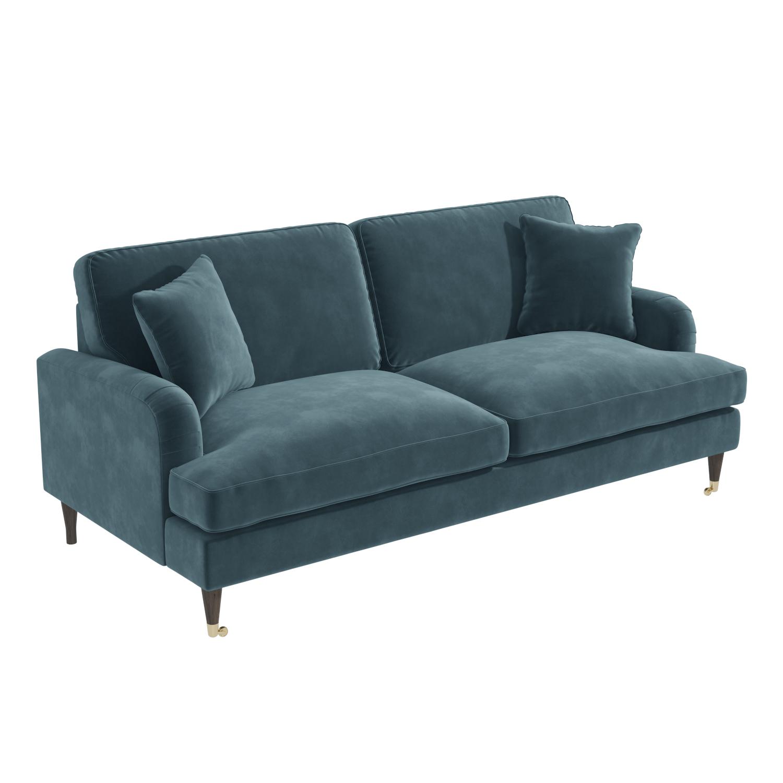 Payton Petrol Blue Velvet 3 Seater Sofa Furniture123