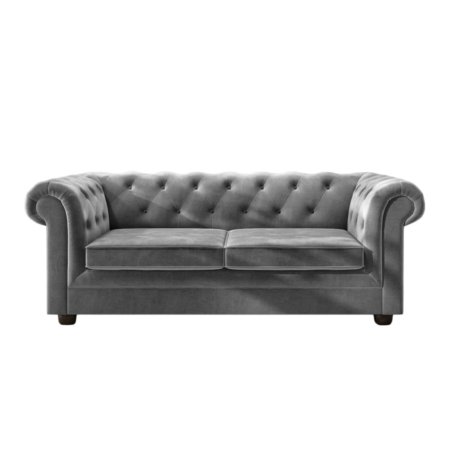 Picture of: Grey Velvet Chesterfield Sofa Bed Seats 3 Double Bed Bronte Furniture123