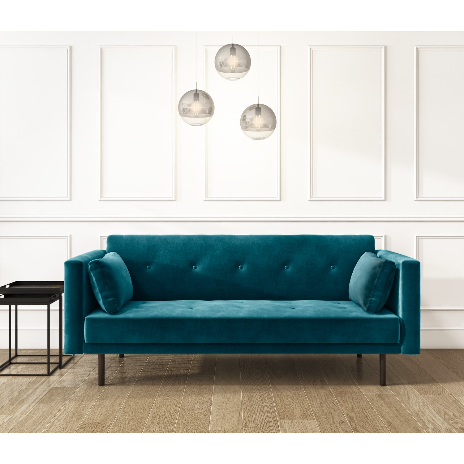 Velvet Sofa Bed in Teal Blue with Buttons - Seats 9 - Rory