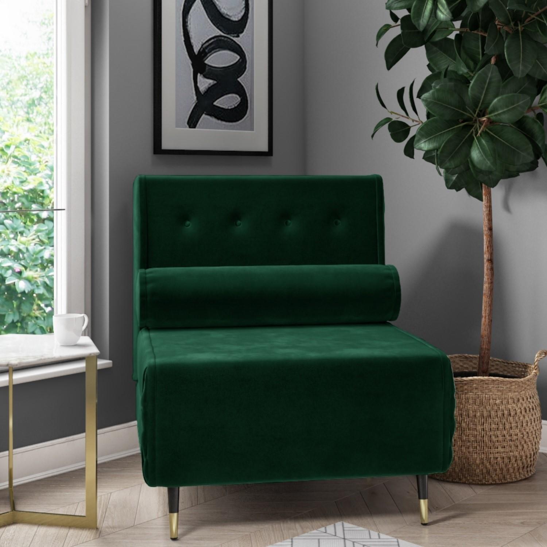 Single Sofa Bed In Dark Green Velvet With Bolster Cushion Eleni