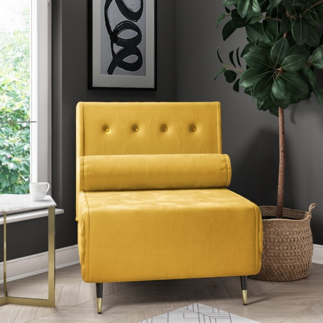 Single Sofa Bed in Yellow Velvet with Bolster Cushion - Eleni